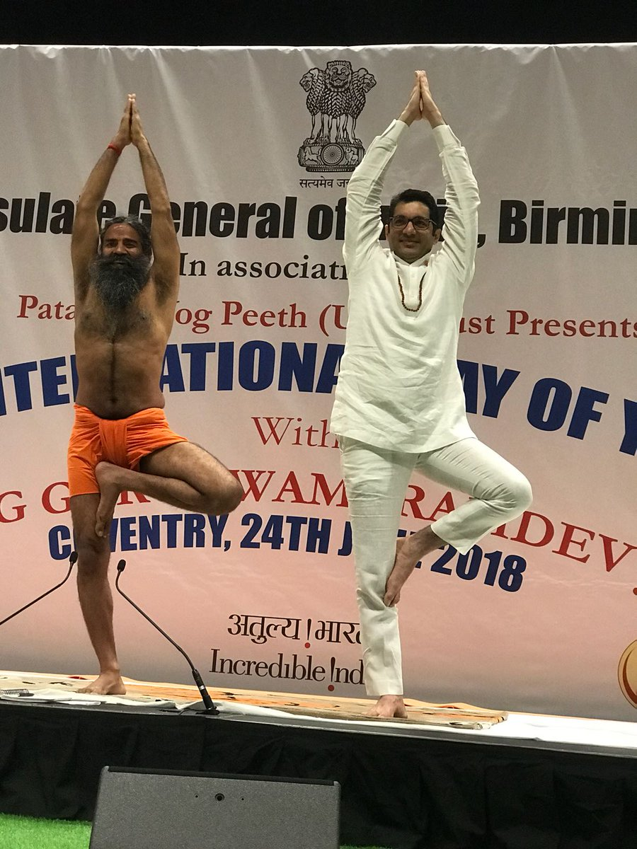 Yoga spirit is permeating! Consul General, Aman Puri along with @yogrishiramdev &amp; other yoga enthusiasts practicing #yoga @Ricoharena #IDY2018<br>http://pic.twitter.com/SESL5x22YU