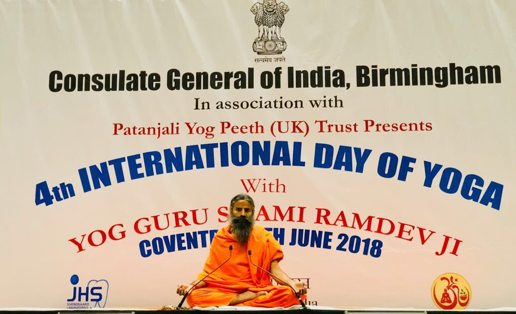 Consulate General of India at Birmingham &amp; Patanjali Yogpeeth UK, organized a grand yoga camp with thousands of Yogis at Coventry. My aim in life is to train every human being on this earth in the Indian traditional art of Yoga #InternationalDayofYoga2018 @CGI_Bghm<br>http://pic.twitter.com/arqUPaI038