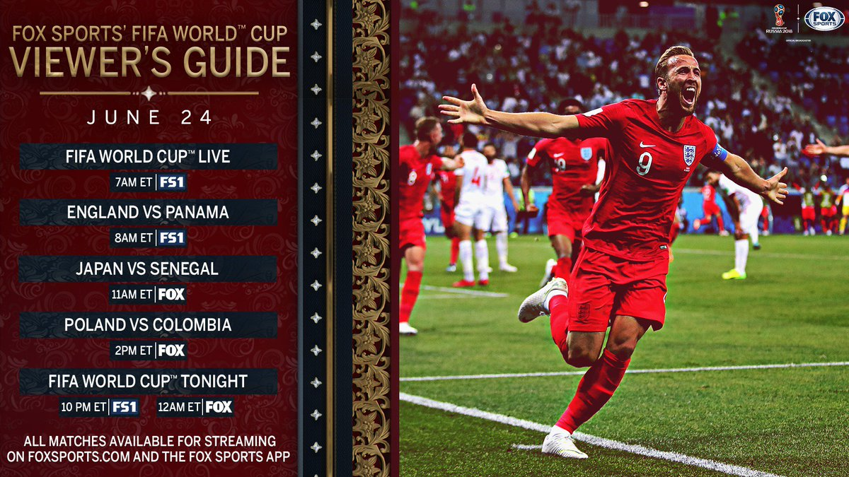 Happy Sunday! Day 11 at the #WorldCup begins with England vs Panama on FS1.   Then, surprise Group H leaders Japan and Senegal go head-to-head to kick off a doubleheader on FOX.