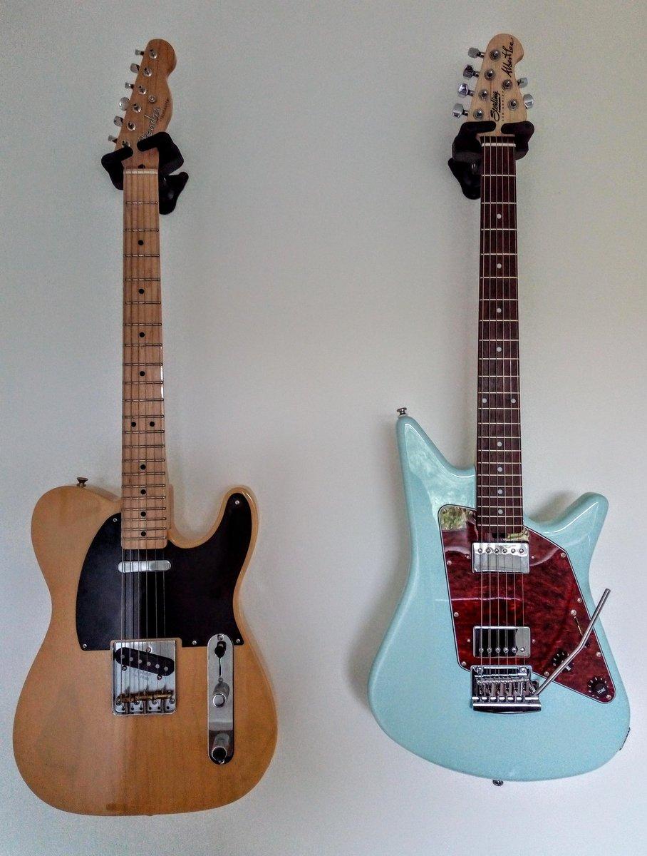 Thanks @andertonsmusic @ernieball for the signed Albert Lee guitar. Feels right at home next to my @Fender Baja Tele 🎸 https://t.co/j0BtLkAncC
