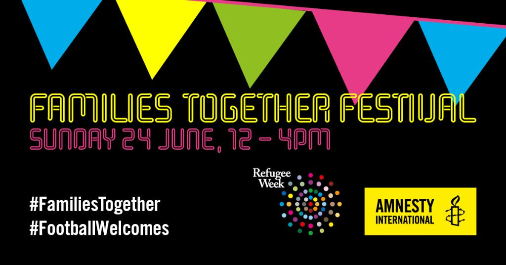 It's the day of our #FamiliesTogether Festival. The weather's lovely. If you're in London, come along and celebrate #RefugeeWeek2018 with us. There'll be delicious food, live music, activities for kids and a screening of the England-Panama game: https://t.co/WkgpzSkp7v