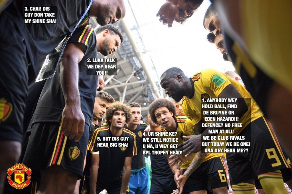Romelu Lukaku dey give motivational speech + instructions to hin Belgium teammates. Kompany dey jealous am, while Fellaini dey look d guy like say hin head be DSTV dish. #MUFC