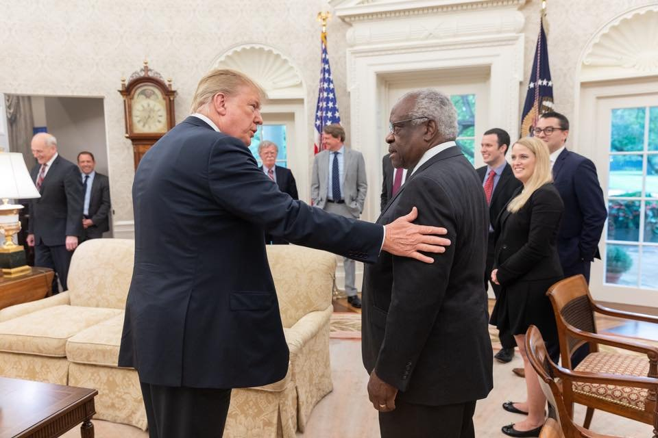 BONUS: John Kelly and John Bolton were also present at Justice Thomas meeting with Trump. As DHS secretary, Kelly oversaw the implementation of the first travel ban, whose chaotic and malicious rollout is an issue in the travel ban case currently pending before SCOTUS.