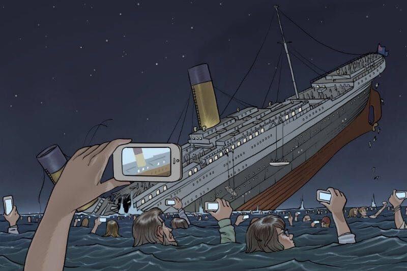 Esta ilustração, por Pierre Brignaud, mostra como seria se o Titanic afundasse em 2018. Via @FotosDeFatos