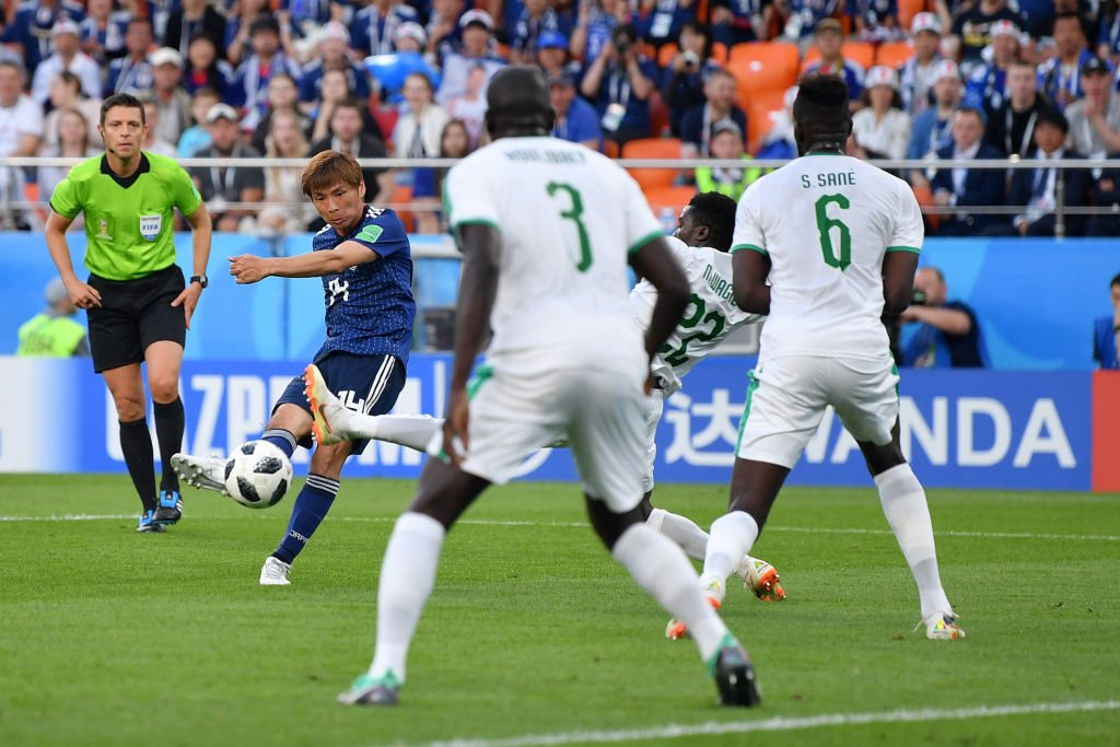 【ロシアW杯速報】前半終了  🇯🇵日本 1-1 セネガル🇸🇳  日本は先制を許すも、一瞬のチャンスで乾が同点ゴール! 後半も頑張れ日本!!(写真:ゲッティ)