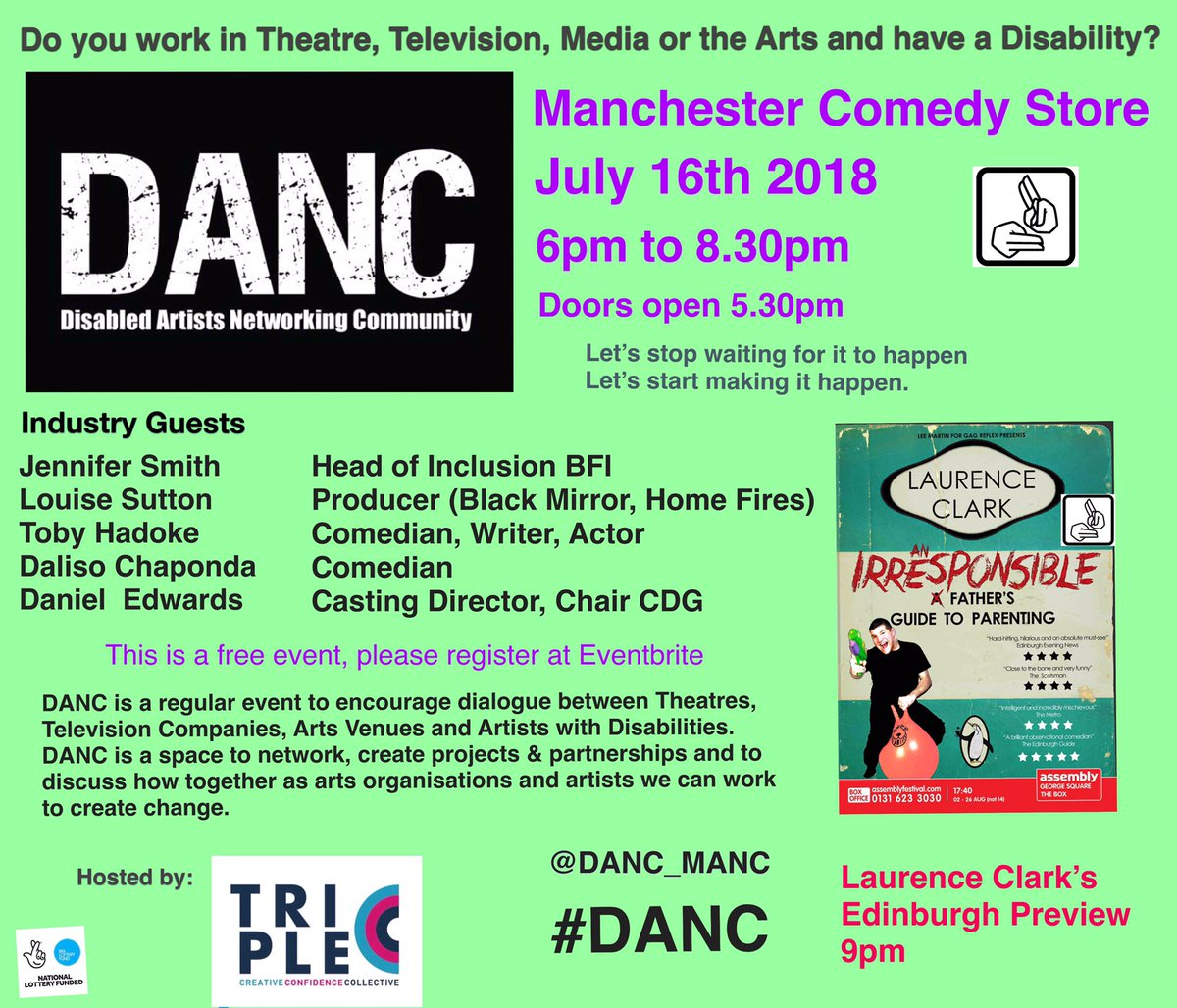 WE HAVE NOW ANNOUNCED OUR INDUSTRY GUESTS FOR THE NEXT DANC EVENT!!! It&#39;s going to be incredible!  If you&#39;re a professional artist/performer/creative with a disability, get booked onto the next Disabled Artists Networking Community event!  RETWEET  Book -  https://www. eventbrite.co.uk/e/danc-disable d-artists-networking-community-tickets-46997428574 &nbsp; … <br>http://pic.twitter.com/LKl5nvBdHN