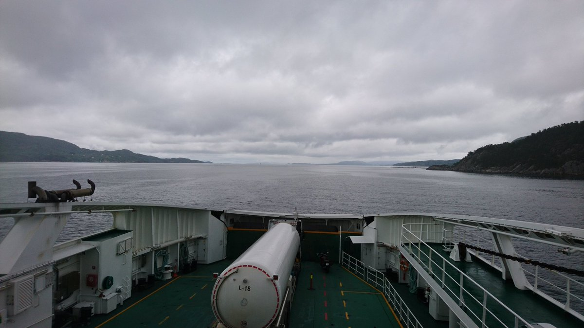 Yesterday was all about driving and car ferries. Beautiful commute from Stavanger to Bergen. Moody rainy skies en route to Halhjem yesterday. Hjem meaning home. Geordie: gannin hyem or yem = going home. Nowhere near mastering the language but spotting similarities. <br>http://pic.twitter.com/AUgWsbUU9B