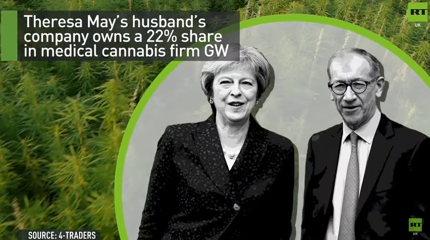 VIDEO. Theresa May's husband's firm profits from medical #cannabis. #EndOurPain Corruption at the top of UK government  https:// youtu.be/pDKvCG2y7RY  &nbsp;  <br>http://pic.twitter.com/iTI0VazJYe