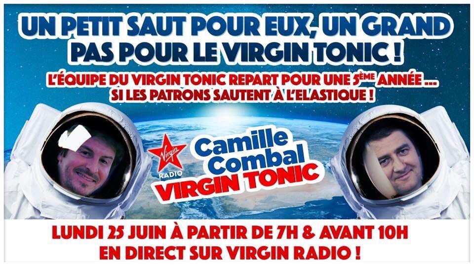 Demain matin...  Ne manquez pas #VirginTonicLeGrandSaut  On saura si notre aventure continue sur Virgin Radio...🎙❤️ On le veut!!! Vous aussi j'espère 🙏🏻  A nos patrons @laurentguimier &  de @FreddoPaunous montrer que eux aussi sont prêts à tout... Décollage à 7h GMT+1 🚀