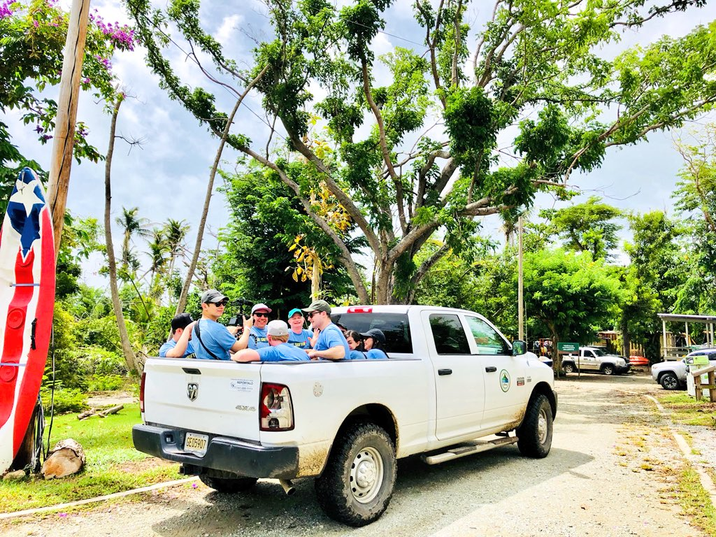 The @skift team in the nature reserve in Punta Santiago in Puerto Rico ready for going out doing some tree planting today. #outskiftin