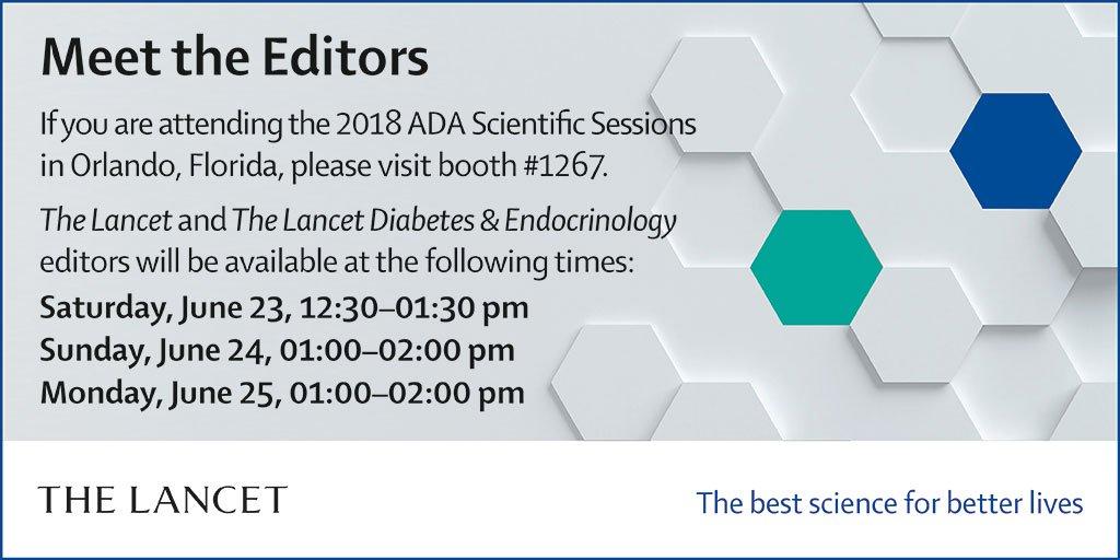 Attending @AmDiabetesAssn in Orlando? Meet The Lancet Senior Editor @jenn1fer_S and  @TheLancetEndoDeputy Editor David Holmes & pick up free  &  c#LancetNCDsontent #diabetesincluding The Lancet  special #2018ADAissue: https://t.co/BjYTtjdX2f