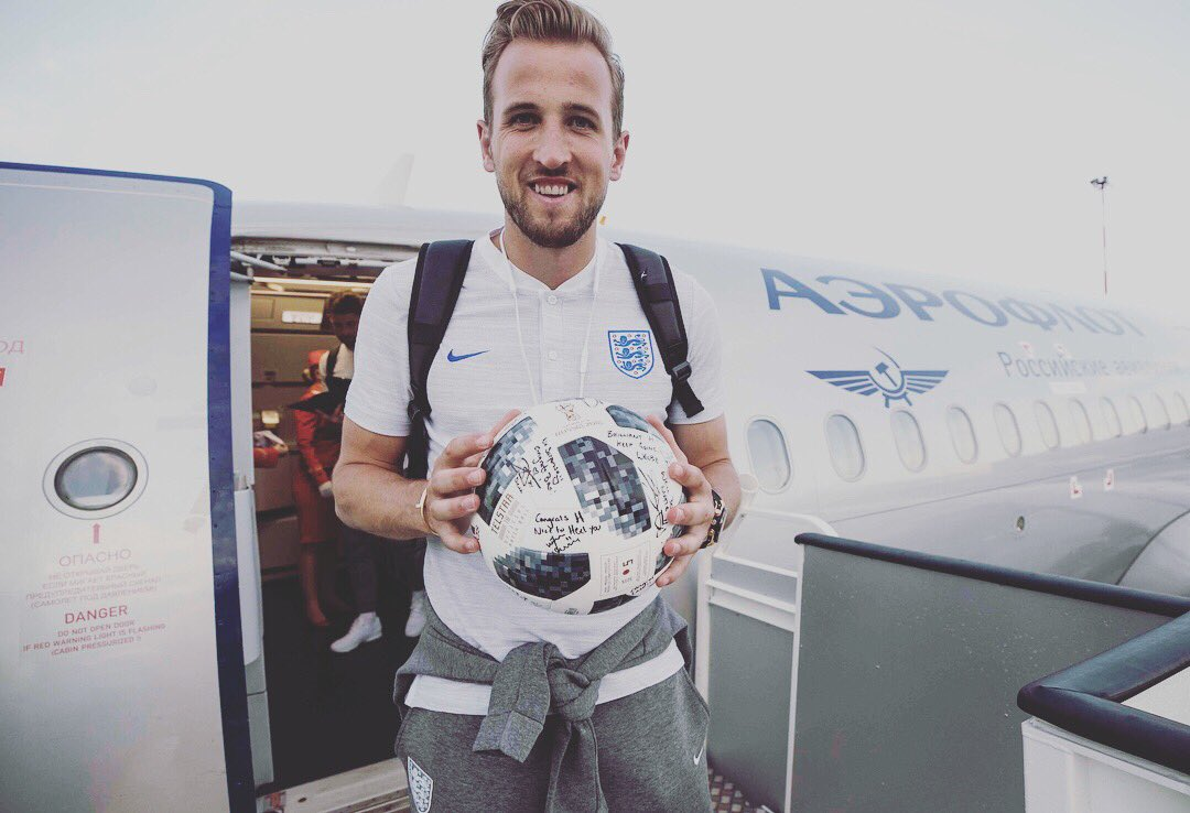 Harry the hat trick hero returns to St Petersburg airport with the match ball signed by his team mates. Boyhood dreams  are made of this and @HKane has got the taste for it now. Watch out world! #threelions  #england #teamspirit #harrykane #worldcup2018 #canonuk #canonambassador<br>http://pic.twitter.com/uFczOGcY7k