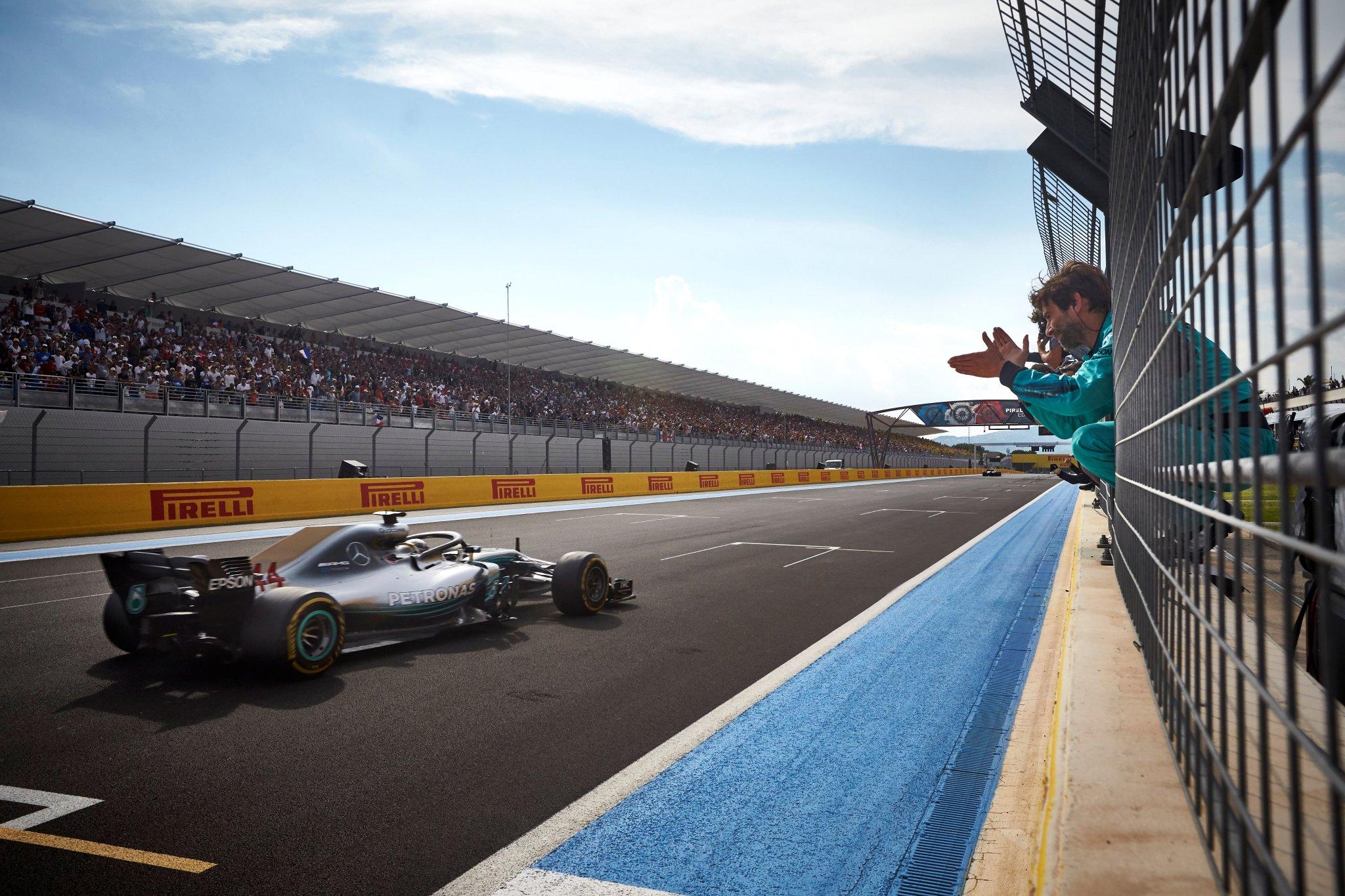 Lewis crosses the line at Paul Ricard in P1