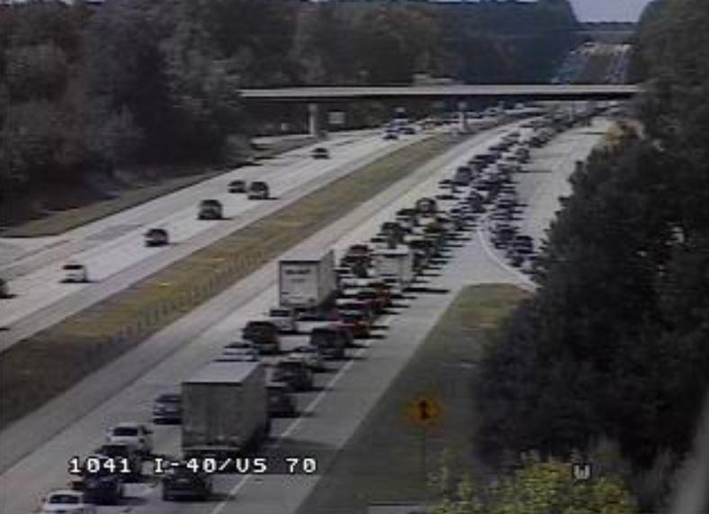An earlier crash is causing traffic backups along i-40 west near