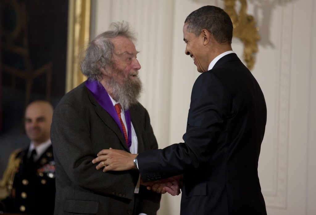 """""""One day, of course, no one will remember what I remember."""" — Poet Donald Hall (1928-2018), receiving the National Medal of Arts Award from President Obama in 2011 (Corbis/Getty Images)"""