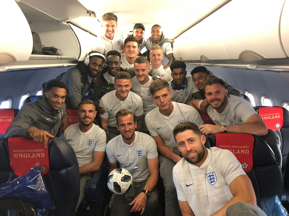 Love this team. Proud of a first World Cup hat-trick. We keep going. 😁⚽⚽⚽ #WorldCup #ThreeLions 🦁🦁🦁