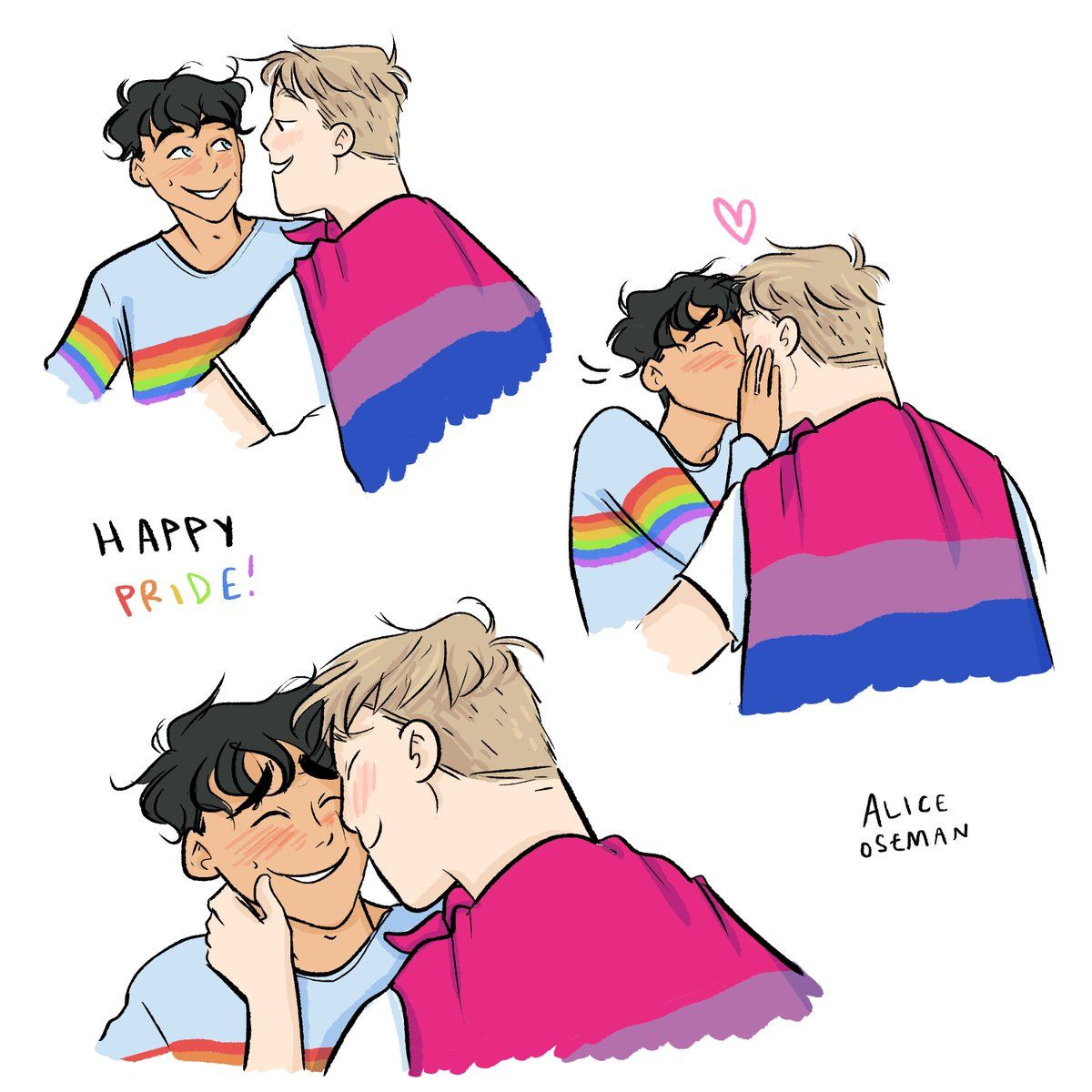 happy pride month from me & the heartstopper boys ❤️🧡💛💚💙💜 (wish id had the time/energy to draw more pride art this month but here is one at least!!)
