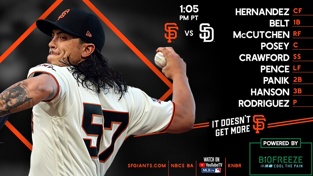 A great day to be at the yard   First pitch - 1:05 PM PDT ⚾️  Powered by @Biofreeze    #SFGiants
