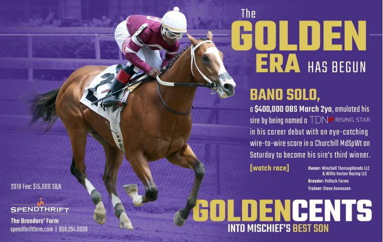 Bano Solo (Goldencents) became his sire&#39;s 3rd winner on Saturday and was named a TDN Rising Star after an impressive win at Churchill Downs. @spendthriftfarm<br>http://pic.twitter.com/56dtdFmvBB