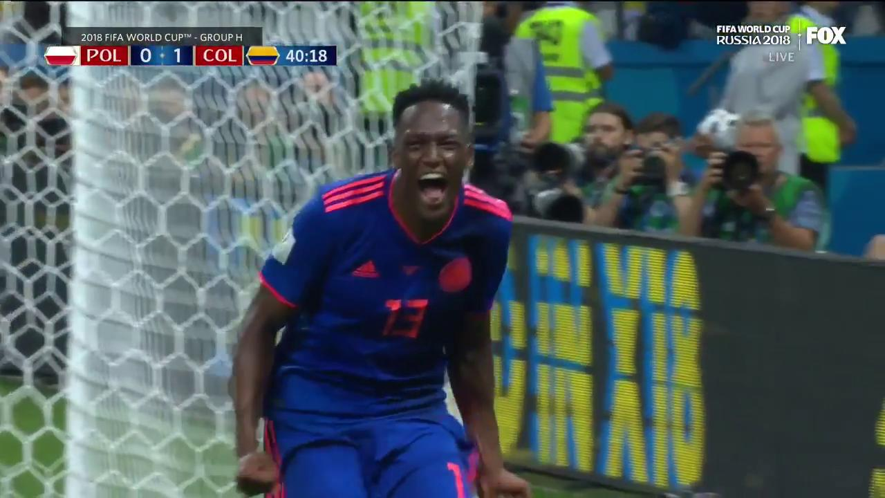 What a ball by James! What a finish by Yerry Mina!   Colombia take the 1-0 lead late in the first half. ���� https://t.co/Yb9GMUCgd6