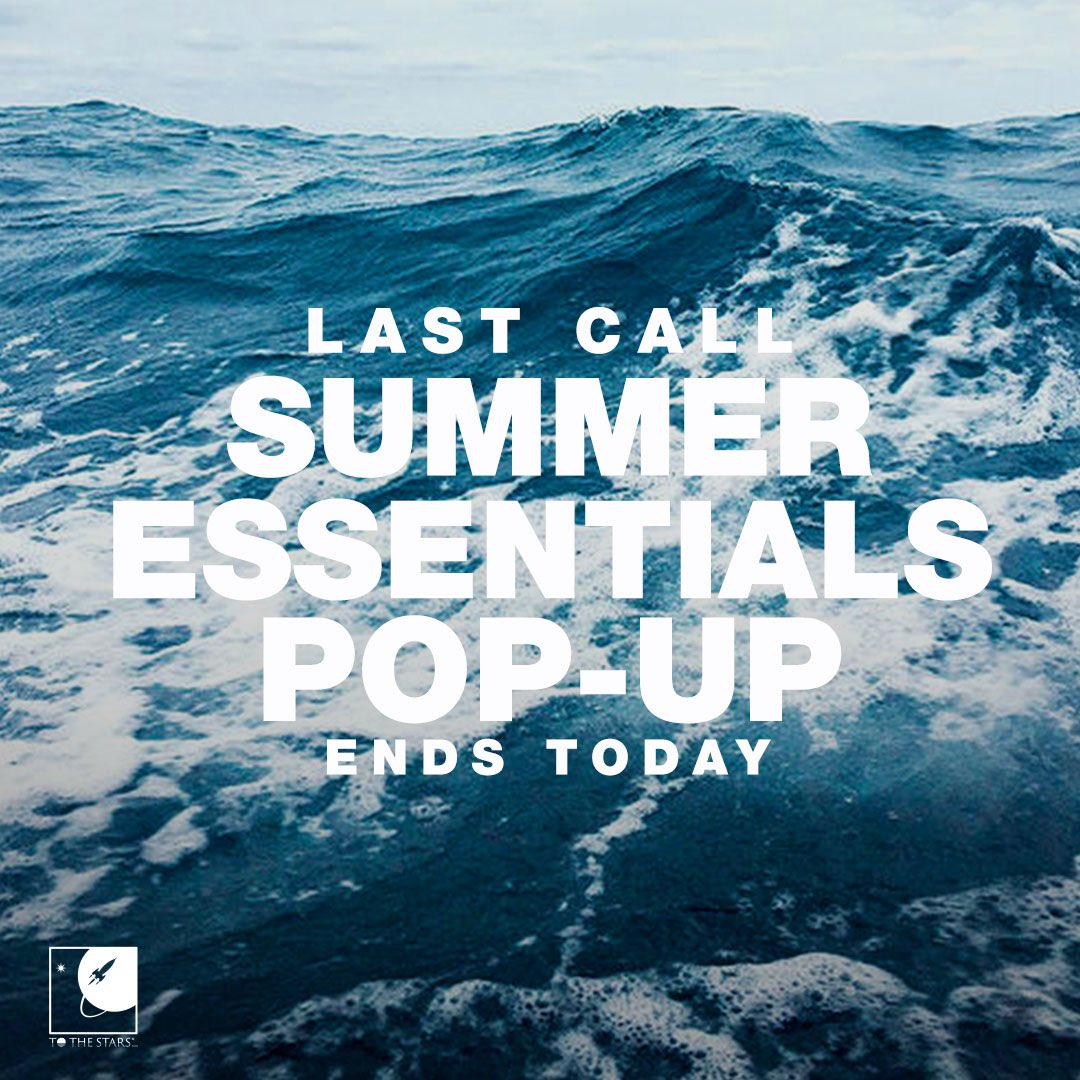 Our #beachvibes Pop-Up Ends at Midnight so stock up on the products we have never made before - and may never make again! Flip flops, weekend bags, and beach towels. Head to tothestars.media/collections/po… to check them all out. #popupshop