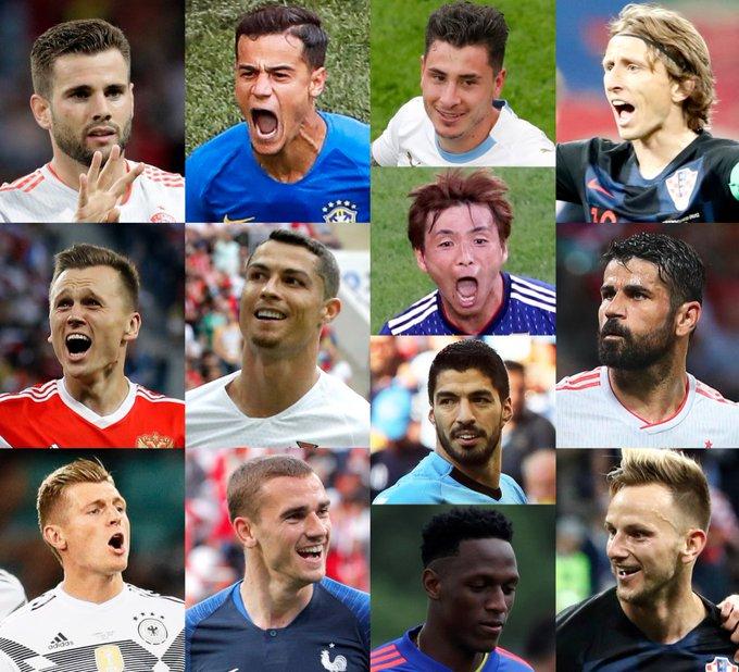 ¡13 goleadores! 🔝 ¡22 goles! 🔥 4- Cristiano 🇵🇹 3- Costa 🇪🇸 3- Cheryshev 🇷🇺 2- Modric 🇭🇷 2- Coutinho 🇧🇷 1- Giménez 🇺🇾 1- Nacho 🇪🇸 1- Griezmann 🇫🇷 1- Suárez 🇺🇾 1- Inui 🇯🇵 1- Rakitic 🇭🇷 1- Kroos 🇩🇪 1- Mina 🇨🇴 🌟 #LaLigaWorldCup 🌟 Foto