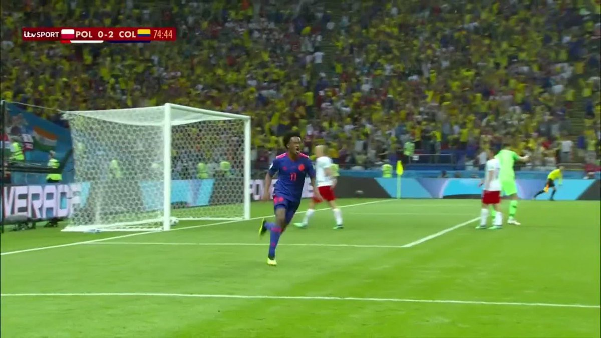 GOAALLL! Juan Cuadrado bursts free and finishes Colombias third goal against Poland after a brilliant through pass from James Rodriguez. #WorldCup #COL #POLCOL