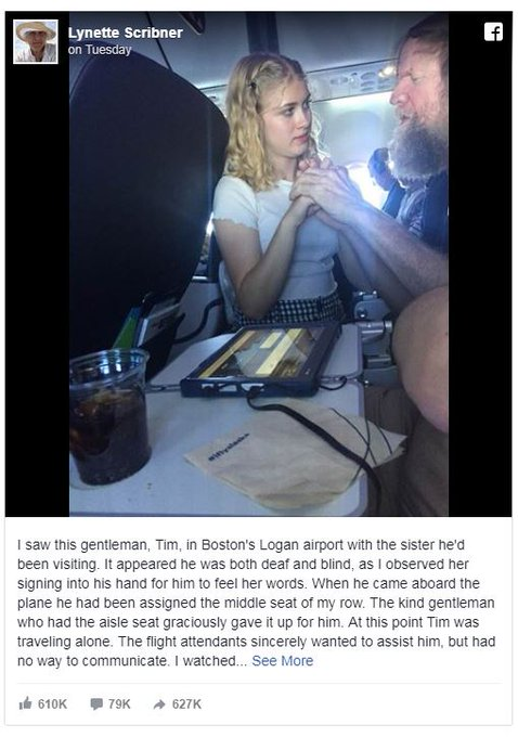 A teenage girls random act of kindness has gone viral after passengers on board @AlaskaAir were left in awe, as she jumped into action to help a blind and deaf man travelling alone communicate with flight staff. #TenNews Photo