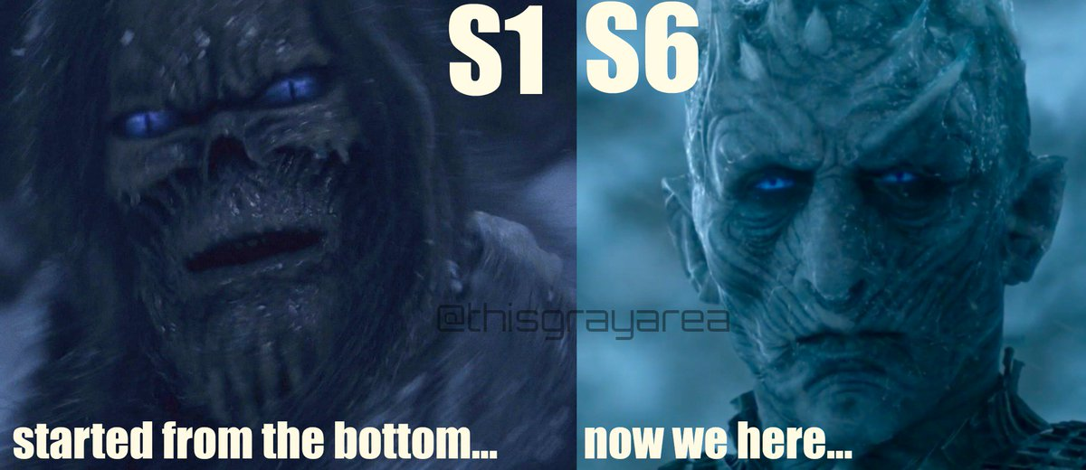 The White Walkers came along way, Makeup/CGI.. S1 White walkers just look like blue eyed crack heads tbh #GameofThrones<br>http://pic.twitter.com/wLuTMcRuQr