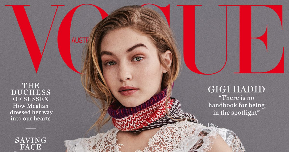 .@GiGiHadid covers Vogue Australias July 2018 issue, on sale today. Read the cover story here where Hadid talks paparazzi, social media haters and learning to say no: au.vogue.com.au/Zkj9tMl