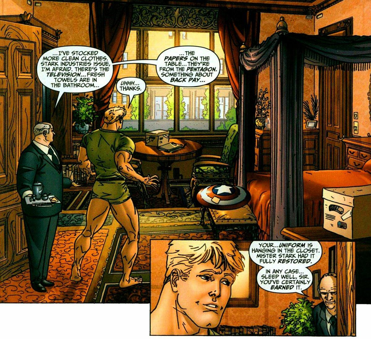 """Mr Stark had your uniform fully restored."" ""Welcome back, Cap.""  #SteveTony #CanonStony #stony #AvengersEarthsMightiestHeroes #issue2 #year2005 pic.twitter.com/yQsdNADrYt"