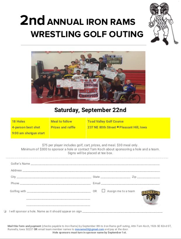 @IronRams 2nd annual golf outing again at @toadvalleygolf Sept 22nd online signup is now open! https://t.co/zud8CcW0Ot https://t.co/oIQL97qLOu
