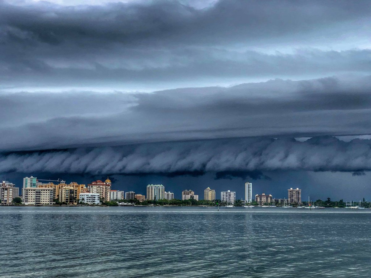10/10 for the shelf cloud coming into Sarasota a short time ago! Fantastic capture from Val Vasilescu. #flwx #StormHour<br>http://pic.twitter.com/RWpwSpUqLK