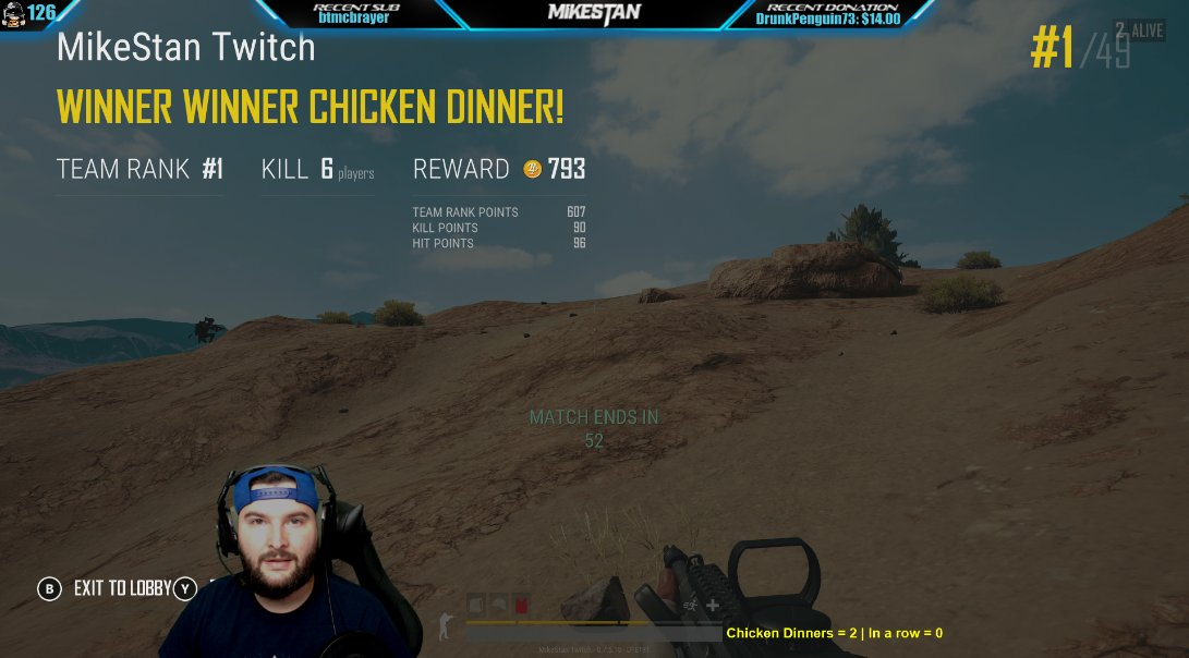 Win #3 of the day #ChickenDinner w/ 6 kills.... 11 total squads kills...  #LiveNow   https:// twitch.tv/mikestan  &nbsp;    #pubg  #PLAYERUNKNOWNSBATTLEGROUNDS #live #xbox #xboxone #xboxonex #scuf #console #gaming #twitch #liveStreaming #Win #Squads #Duos #Solos #SupportSmallStreamers<br>http://pic.twitter.com/27tim9gJSJ