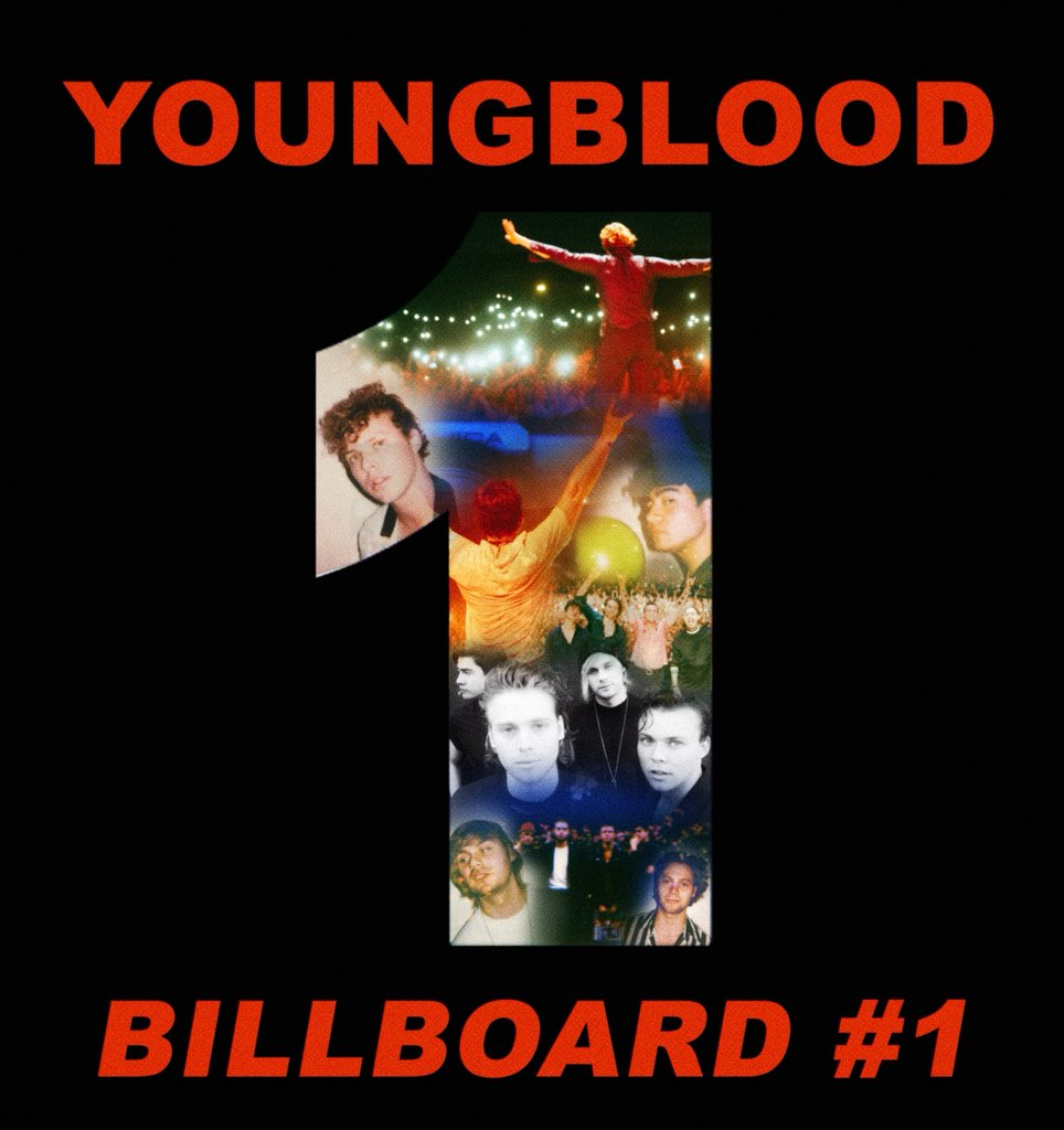 Youngblood is a certified billboard #1 album in America. You came together as people to get us our 3rd number one record for all the right reasons. Today you made history for 4 young men, and you are every reason why we  feel like the luckiest people alive.