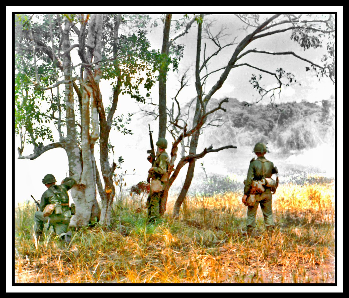 Soldiers from the 1st Cavalry Division wait for a helicopter extraction, 6 July 66. Photo by Sp4 Robert C. Lafoon DASPO via NARA. Enhancement by erikthehistorian (erik villard) #VietnamWar<br>http://pic.twitter.com/LND5C2ZqiC