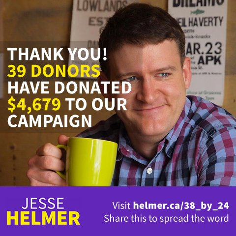 Wow! 39 donors have donated $4,679 so far to our campaign for #ward4!  http:// helmer.ca/38_by_24  &nbsp;   #ldnont<br>http://pic.twitter.com/qzejWVV0no