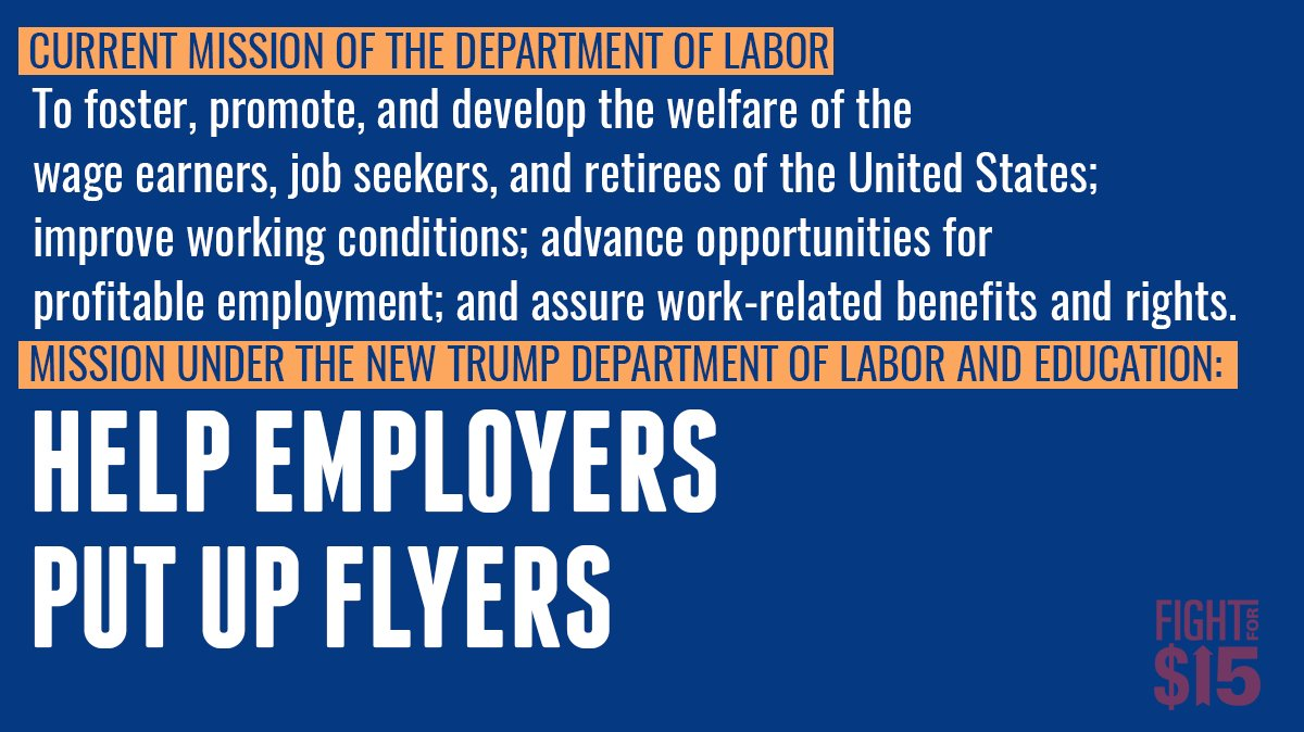 The White House&#39;s plan to merge the Department of Labor and Department of Education is an effort to kill both bureaus enforcement arms. #FightFor15 <br>http://pic.twitter.com/ETpQtCv4N0