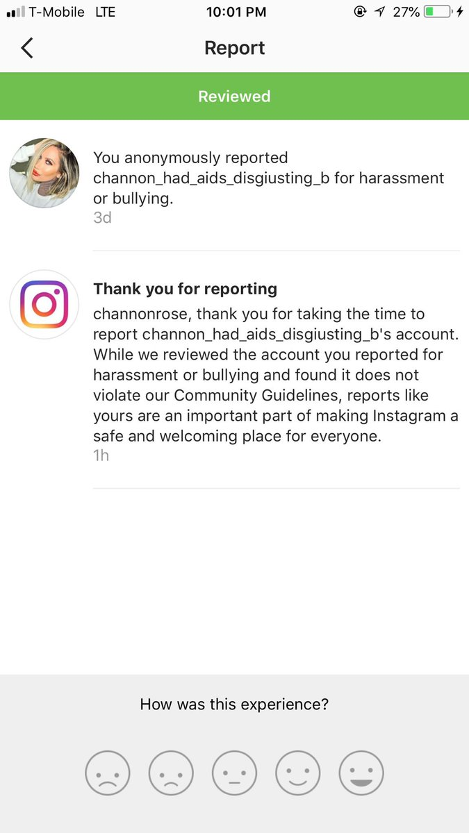 Apparently someone with a username of Channon Has AIDS &amp; is disgusting that has an account dedicated to harassing &amp; bullying me, my family &amp; fans does not violate @instagram community guidelines. Interesting.  <br>http://pic.twitter.com/exZRs14uMB
