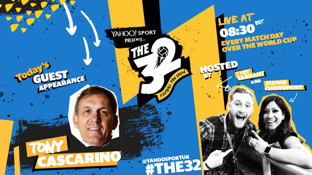 🚨 LIVE NOW 🚨   Join #The32 hosts @ReshminTV and @tobytarrant as we welcome Irish former forward Tony Cascarino [@TonyCascarino62] into the studio! #CFC #LFC #ThreeLions   Live on our official Facebook page at 8:30 BST.   👉 https://t.co/JvSrcAfEf1  👈