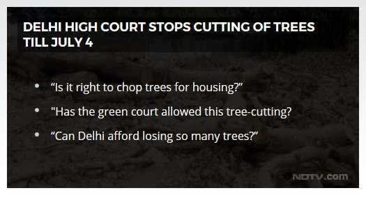 No trees will be cut in Delhi for now, the High Court said today, putting on hold a controversial mega-project that requires the cutting of 17,000 trees in the city to make way for government officers' houses and a commercial complex.  Read more here: https://t.co/JL1VQajWk0