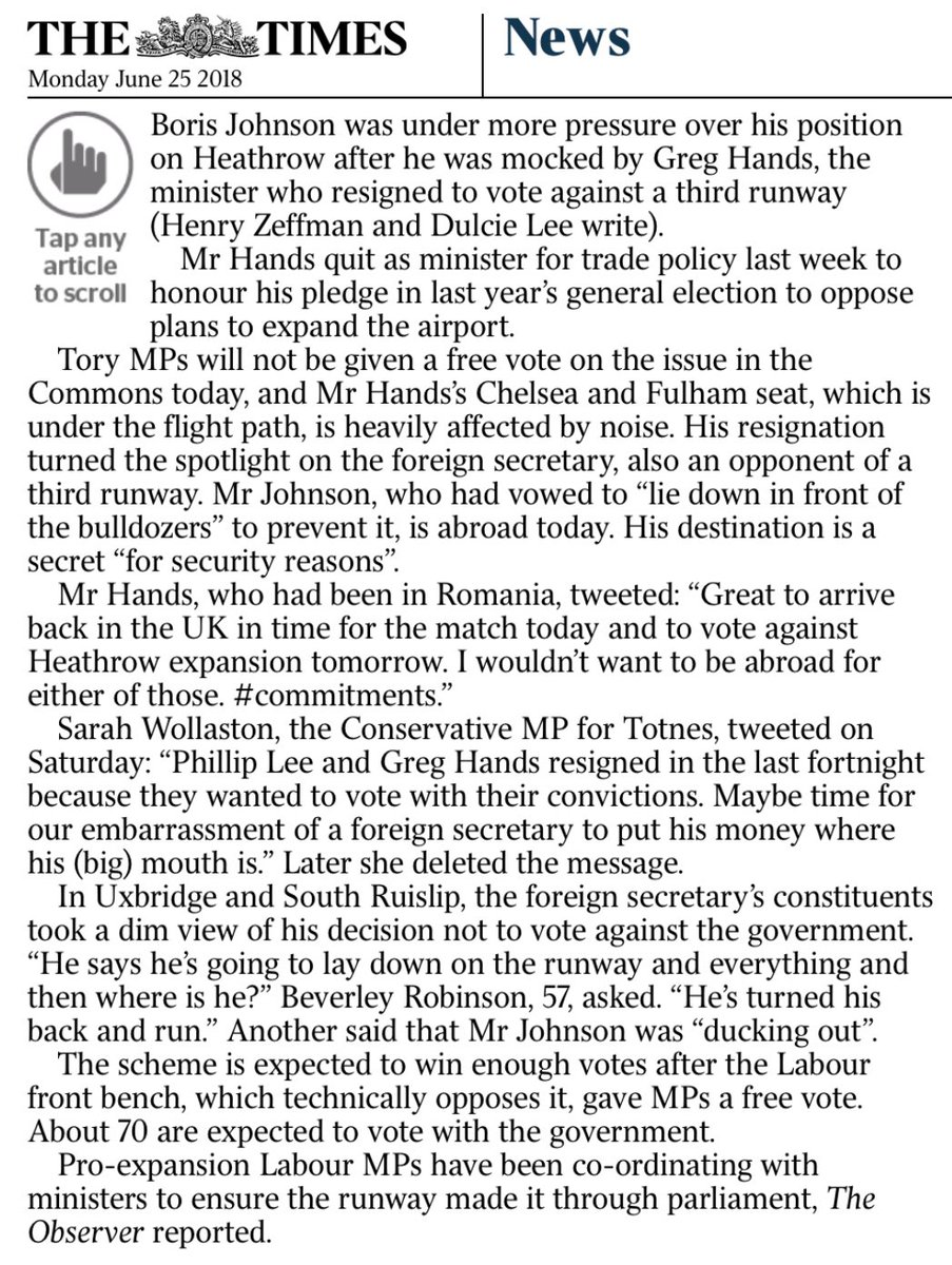 Boris Johnson, man of principle, will be abroad at a secret location for key Heathrow vote as Labour lines up with Conservatives to get new runway through.
