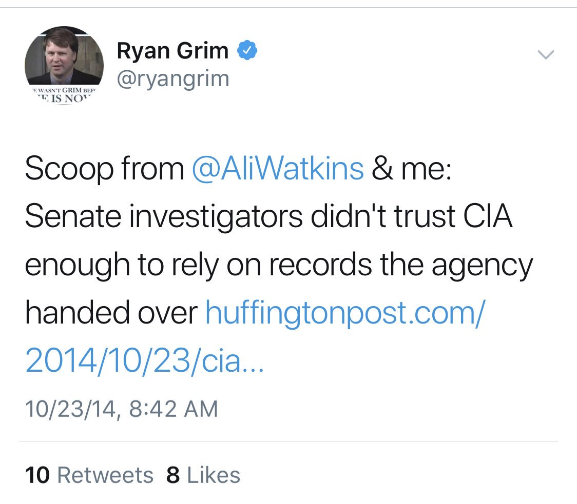 Mr. @ryanGrim, who has blocked me, was evidently deeply involved. He co-bylined an anti-CIA story with Watkins for which Wolfe was the source. At @theintercept he received, and bylined, the Reality Winner NSA leaks. Hope Grim has a good lawyer. I think he'll need one.