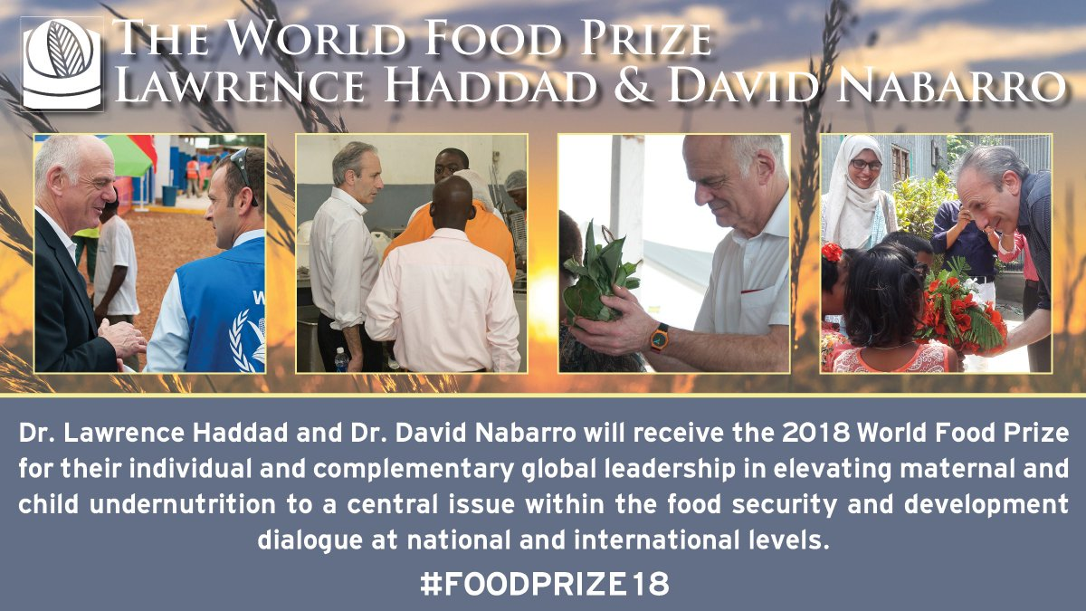 """""""Like Dr. Norman Borlaug before them, Drs. Haddad and Nabarro have dedicated their careers to reducing hunger and malnutrition,"""" said Bill Gates, co-chair of the Bill &amp; Melinda Gates Foundation.  @gatesfoundation<br>http://pic.twitter.com/mJx3FF3sY9"""