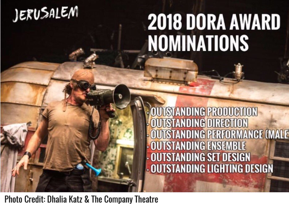 As 2018 #DoraAwards happen tonite in Toronto congrats once again to the truly brilliant @KimFCoates @companytheatre @OutsidetheMarch & the entire #JerusalemTO cast & production team on your SIX Dora Mavor Moore Award nominations & best wishes for fantastic night🐓 #DoraAwards2018