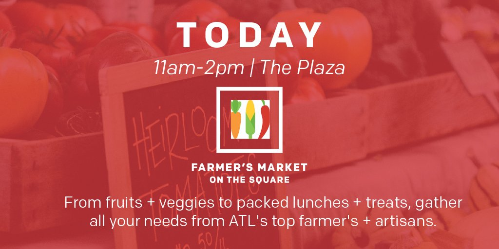 HAPPENING NOW until 2pm, join us in The Plaza for Farmer&#39;s Market on The Square. See what farmers will be on-site today-&gt;  http:// csq.click/farmersmkt  &nbsp;   #MidtownATL #csreimagined<br>http://pic.twitter.com/0WmrTC9RaJ