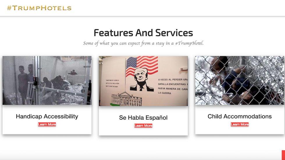 https://t.co/3gezs8X4EA goes to parody website showing migrant detention centers https://t.co/fdnT5Y3Qv6 https://t.co/W5XHQnu2OZ
