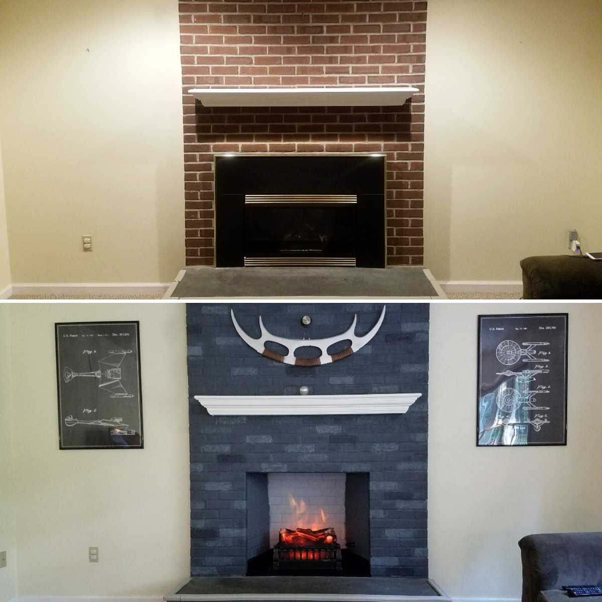 Bruno Campolo On Twitter Boring Sunday Fireplace Remodel And Yes That Is A Klingon Bat Leth Beforeandafter Diy Startrek