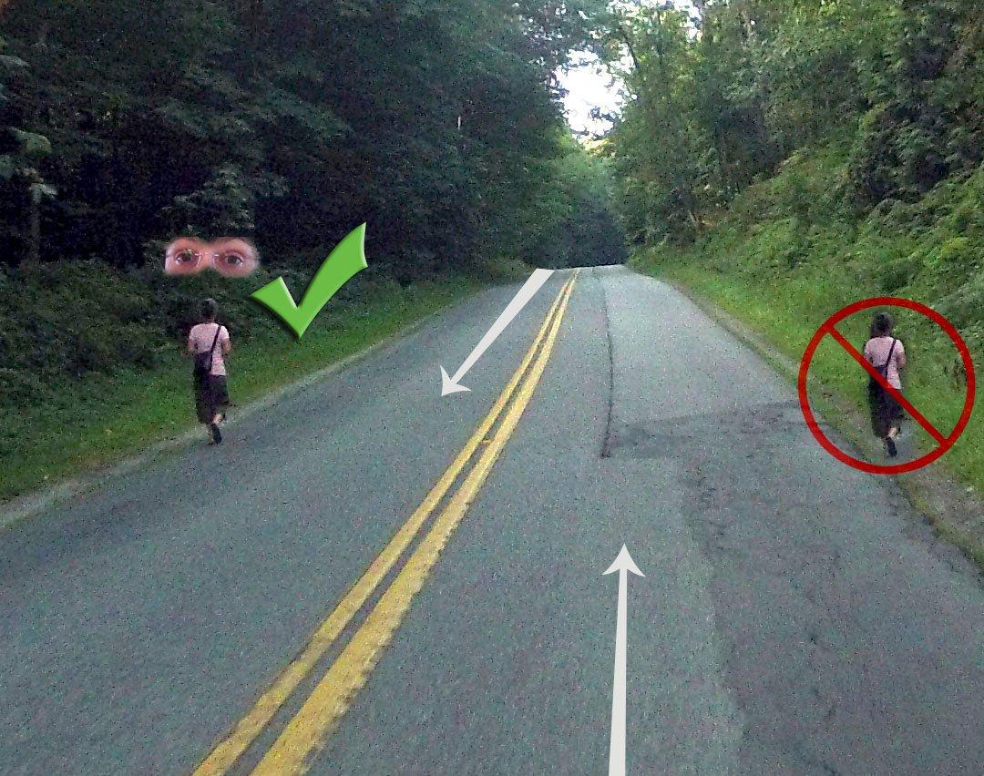 """美国考驾照也有""""科目一""""书面考交规,本州考交规还会考怎么走路。美国一般仅市区有人行道,其他哪儿都是机动车道,虽然行人路权最大,但沿机动车道走路毕竟不安全,所以本州交规规定:有人行道时,必须走人行道;没有人行道时,沿着路边左侧走/走反道(方便你面向来车,提前看到来车) #美国那些真事 https://t.co/88S6ABhLTR 1"""