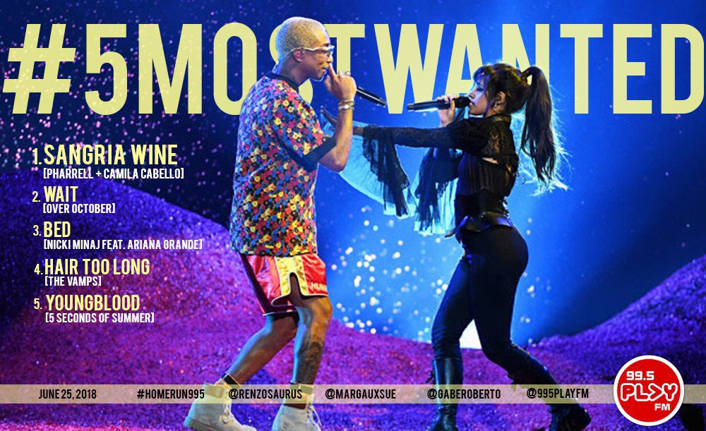 SIP 👏🏼 ON 👏🏼 THAT 👏🏼 SANGRIA 👏🏼WINE 🍷 @Pharrell & @Camila_Cabello are still on top of the #5MostWanted for this brand new week! That's a reason to drink a nice glass of #SangriaWine! The #HomeRun995 with @renzosaurus & @GabeRoberto